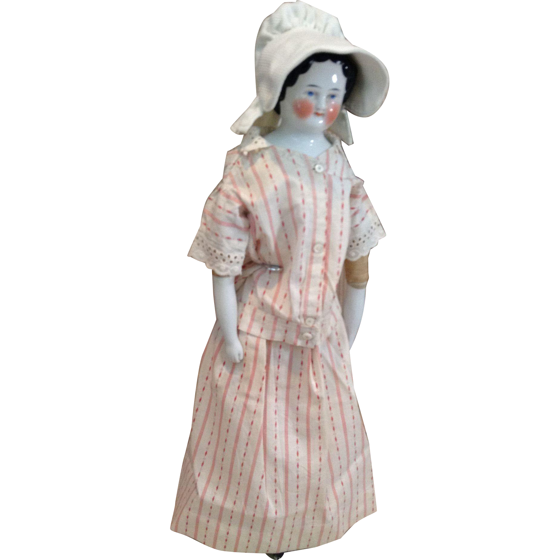 C.1900 Red and White Day Dress Set and Pique Bonnet