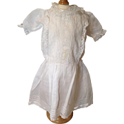 Early 20c. Batiste Doll Garden Dress with Lace and Tucking