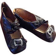 C.1900 Black Leather German Doll Shoes