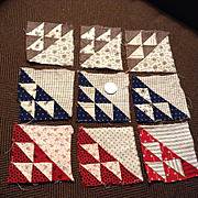 9 Small Hand Pieced Antique Quilt Squares