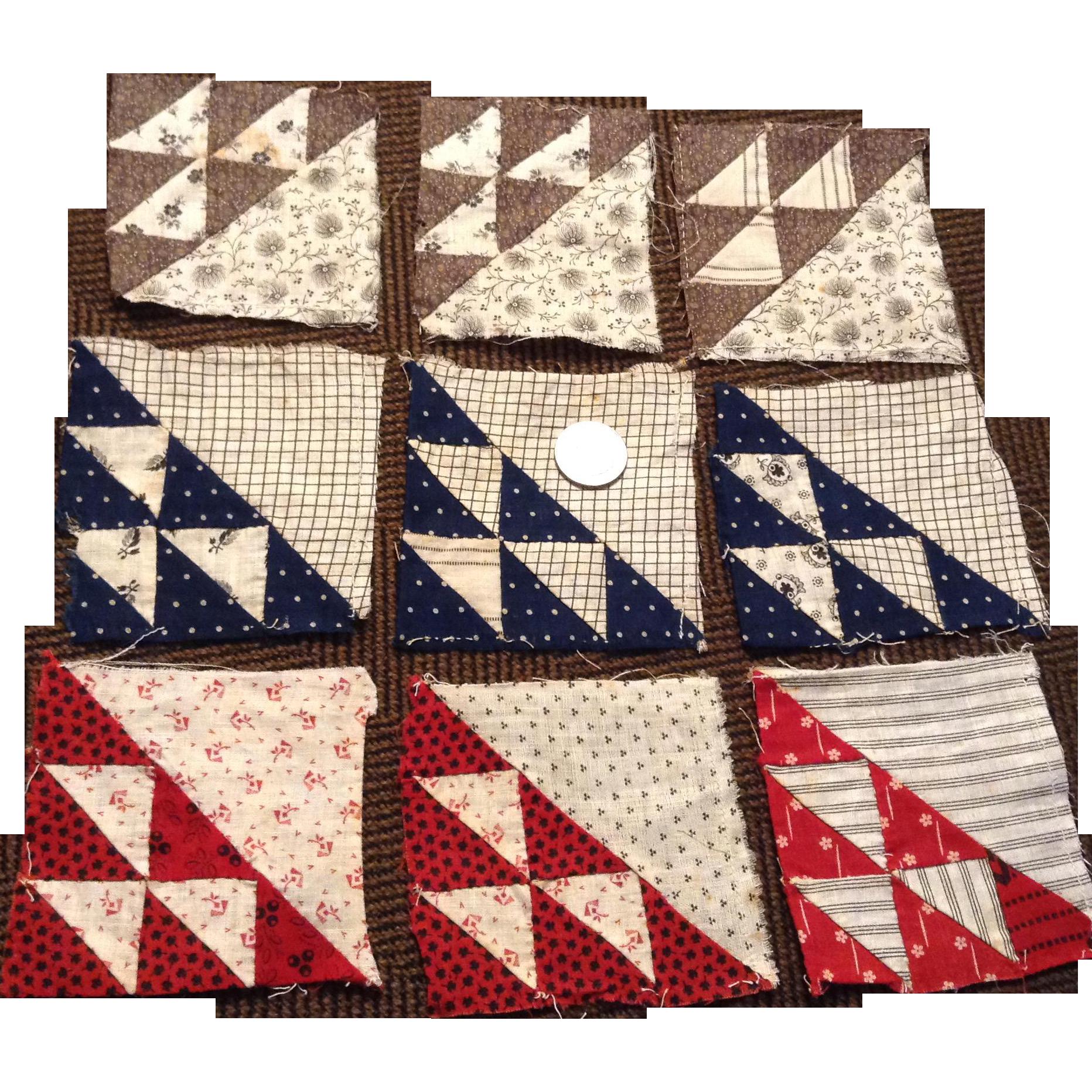 9 Small Hand Pieced Antique Quilt Squares