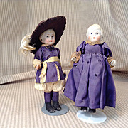 Pair of Early 20c. All Bisque Dolls