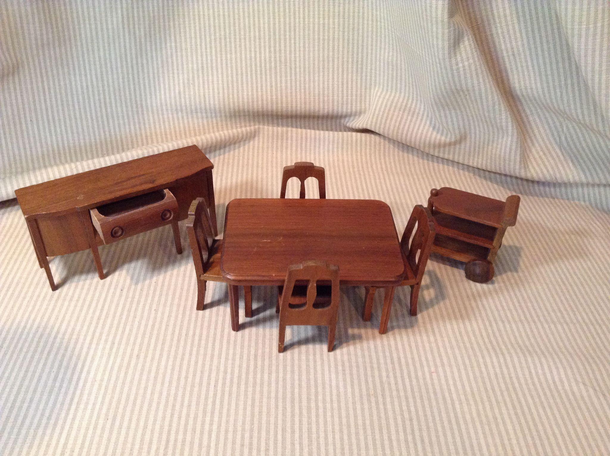 C.1940s/50s Strombecker Walnut Doll House Dining Room