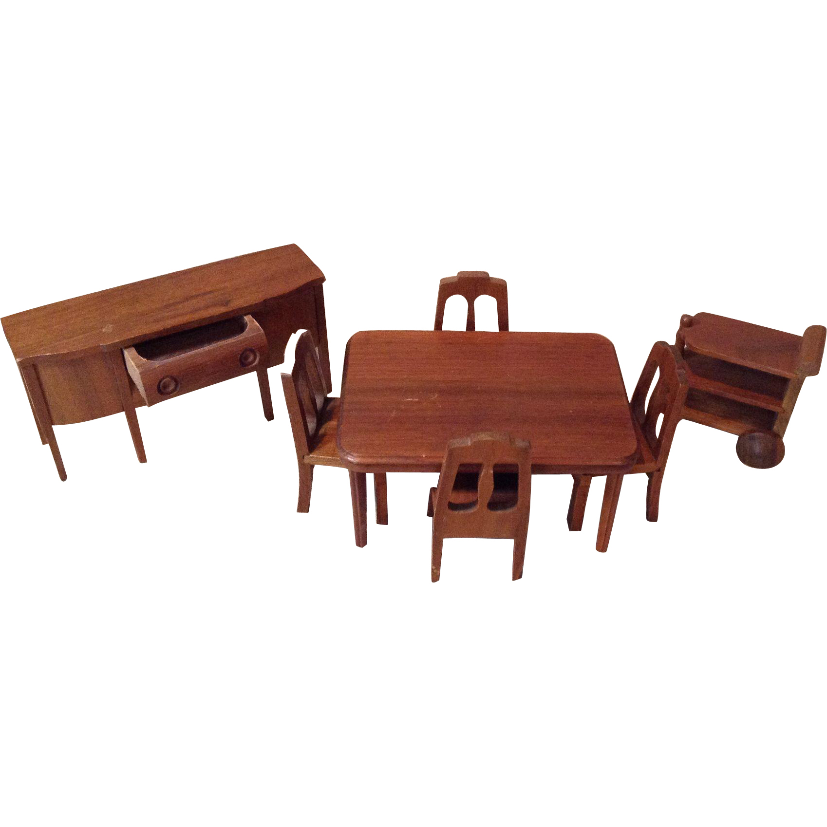 C.1940s/50s Strombecker Walnut Doll House Dining Room