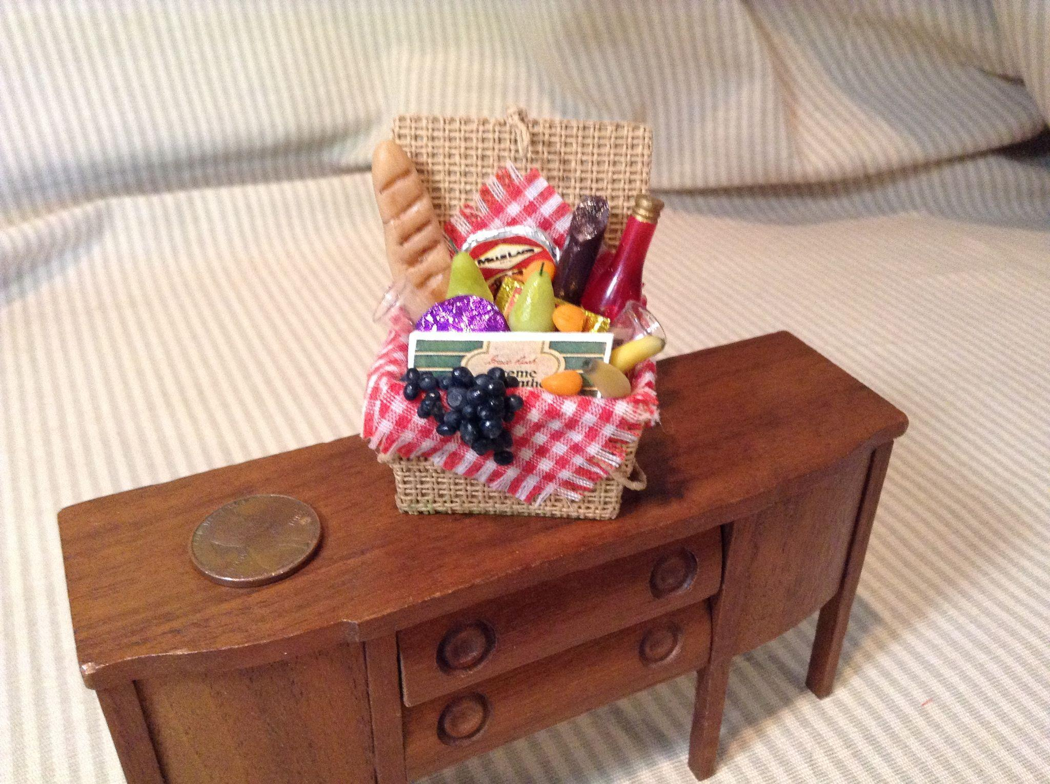 Finely Created Doll House Miniature Picnic Basket
