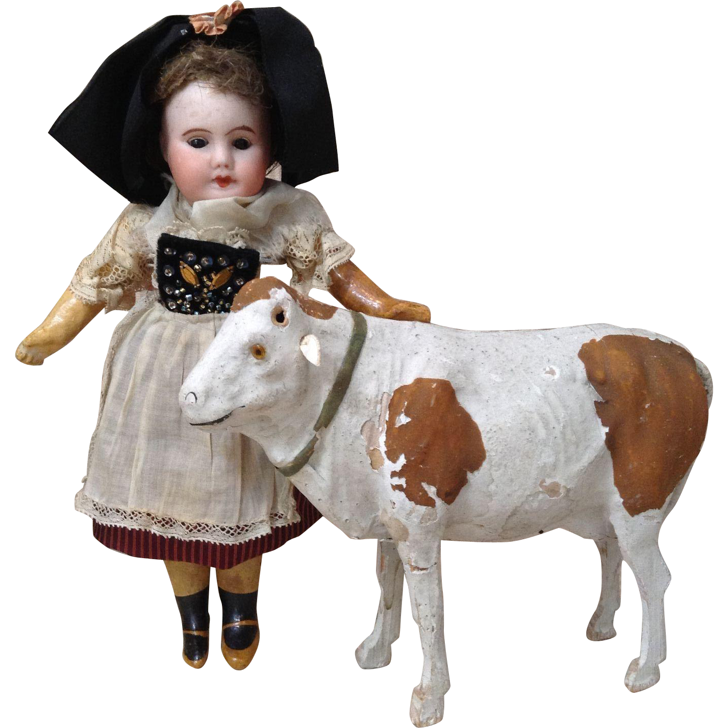 Rare Large German Putz Cow with Glass Eyes