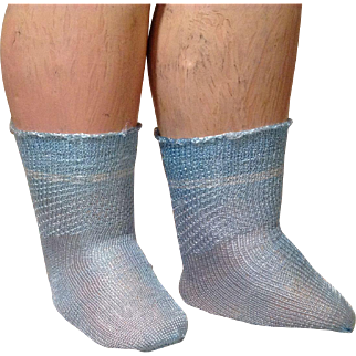 C.1930 Blue Rayon Doll Socks