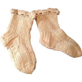 Antique Small Hand Knit Doll Socks