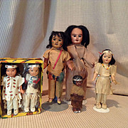 6 Native American Dolls-2 German Bisque Head, 4 Others