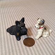 2 Wonderful Cast Iron Mignonette Pet Dogs