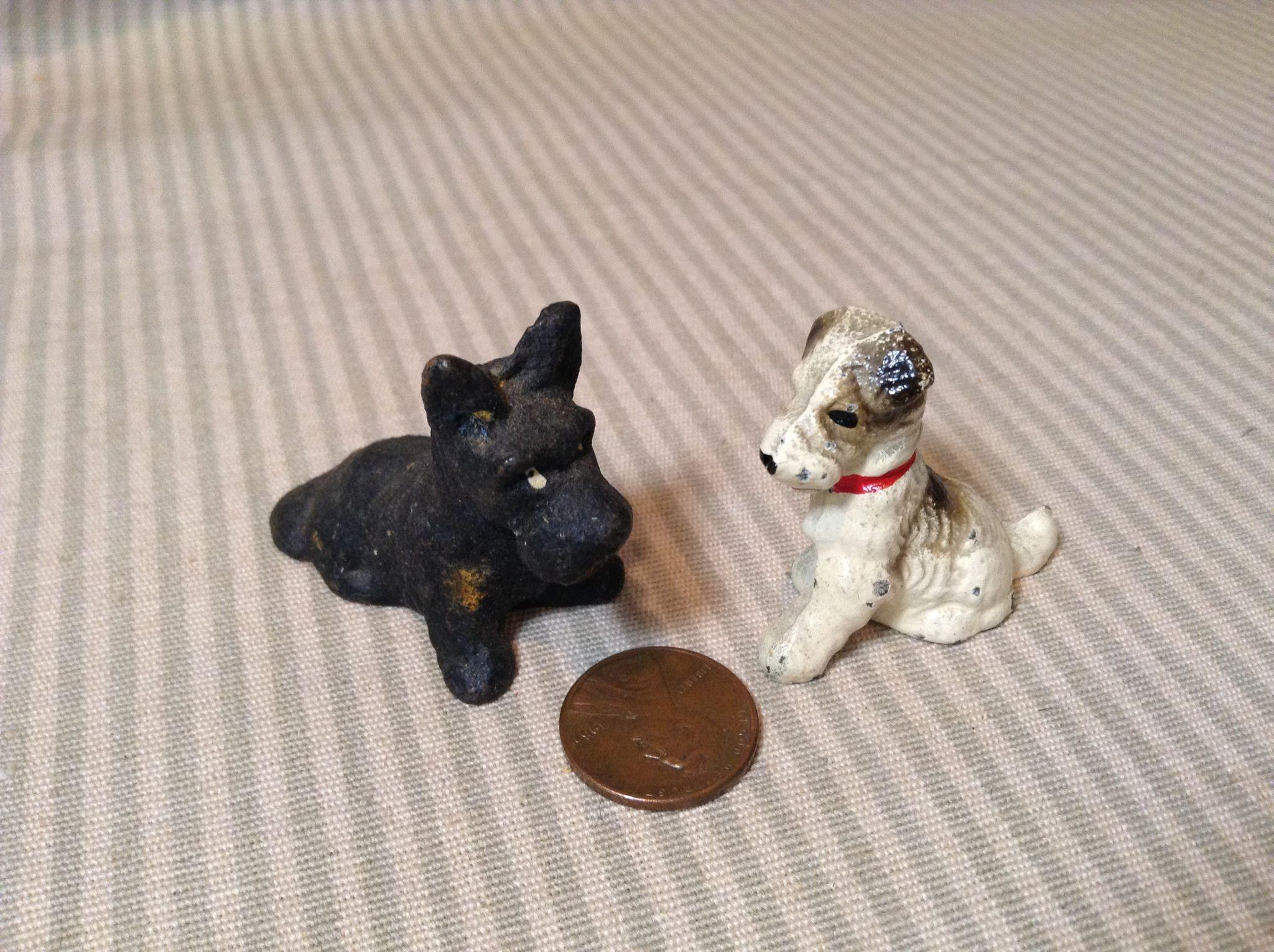 2 Wonderful Cast Iron Mignonette Pet Dogs