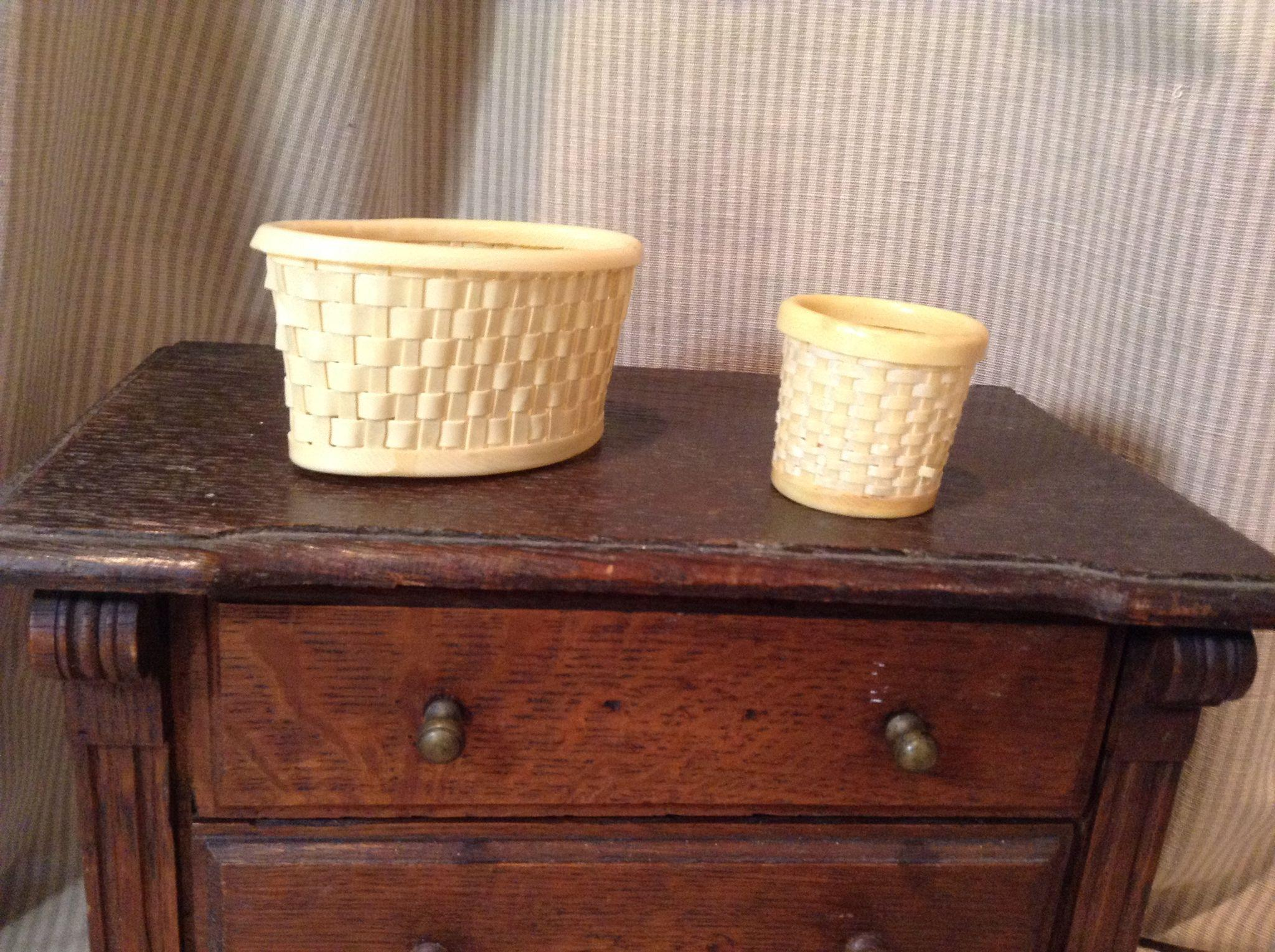 Two Celluloid Woven Miniature Baskets-Early 20.