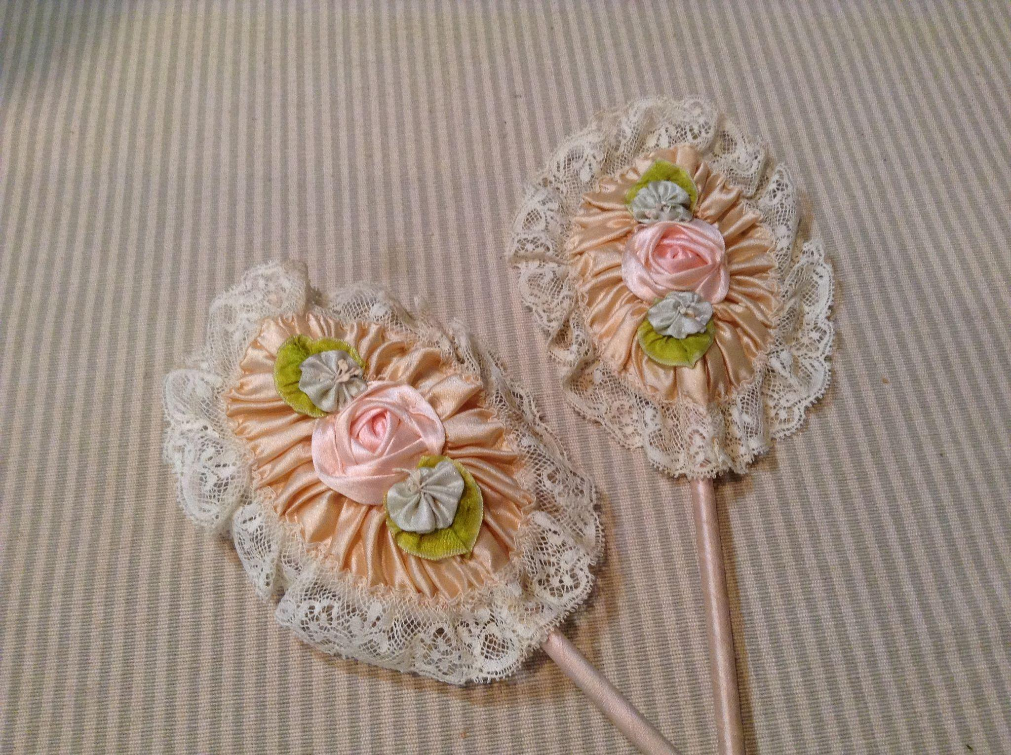 Lovely Silk Rose Mirror and Puff with Wand Handles