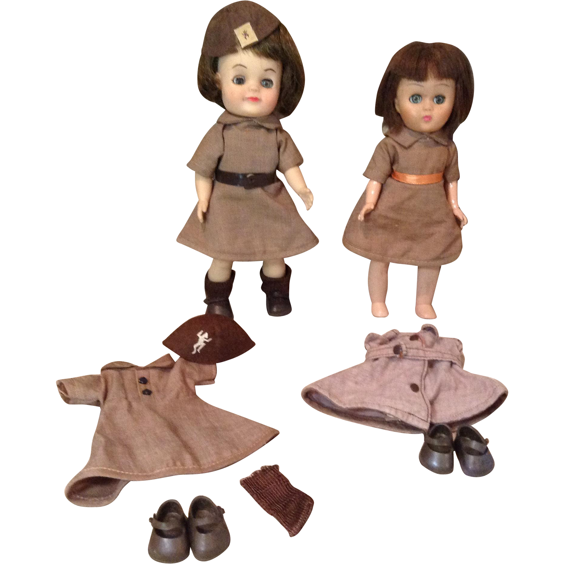 """C.1960s Brownies and Extra Uniforms for 8"""" Dolls"""