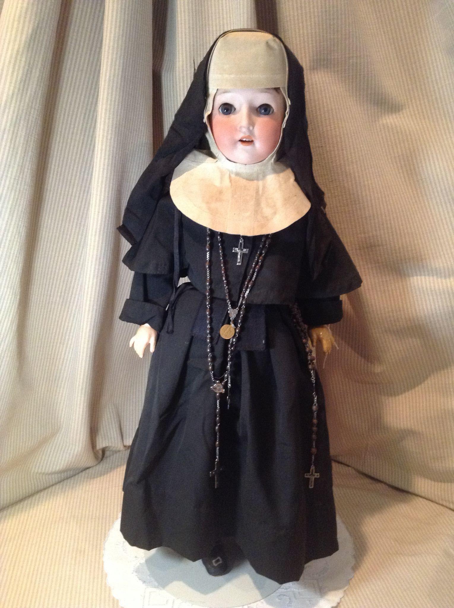 """C.1900 German Bisque 25"""" Doll In Nun's Habit"""