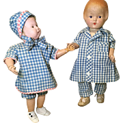 2 c1920s Gingham Play Outfits