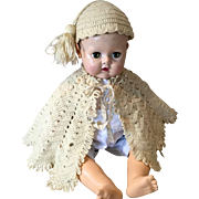 Two Piece Set of Wool Cape and Tasseled Cap for Large Baby Doll