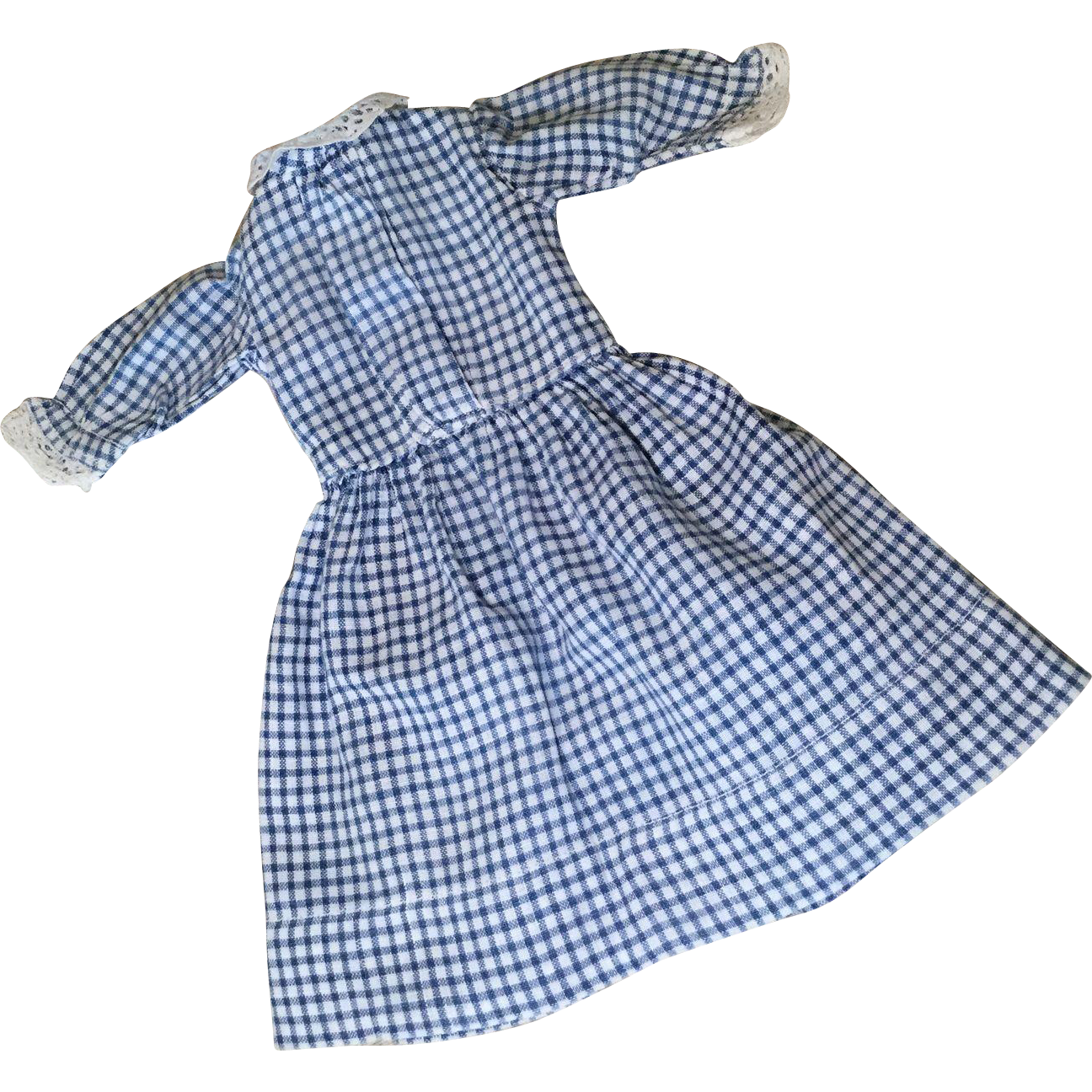 C.1900 Country Gingham Doll Dress for Cabinet Size Doll