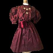 C.1905 Silk Taffeta Three Piece Lady Doll Day Dress