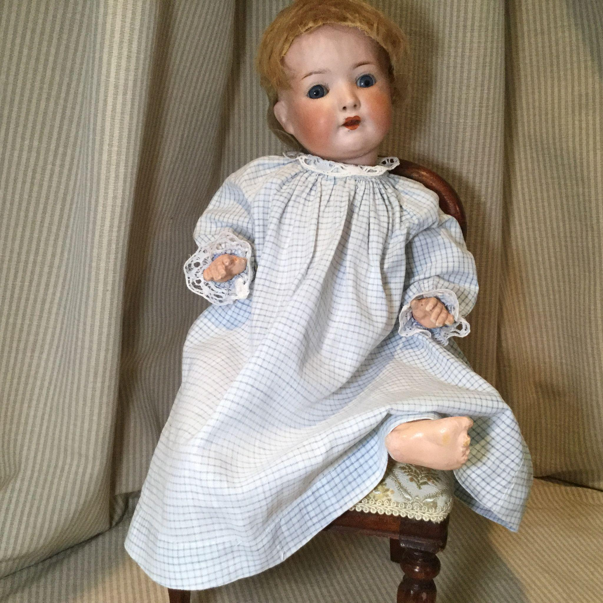 Early 20c. Blue and White Checked Baby Doll/Tot Doll Dress