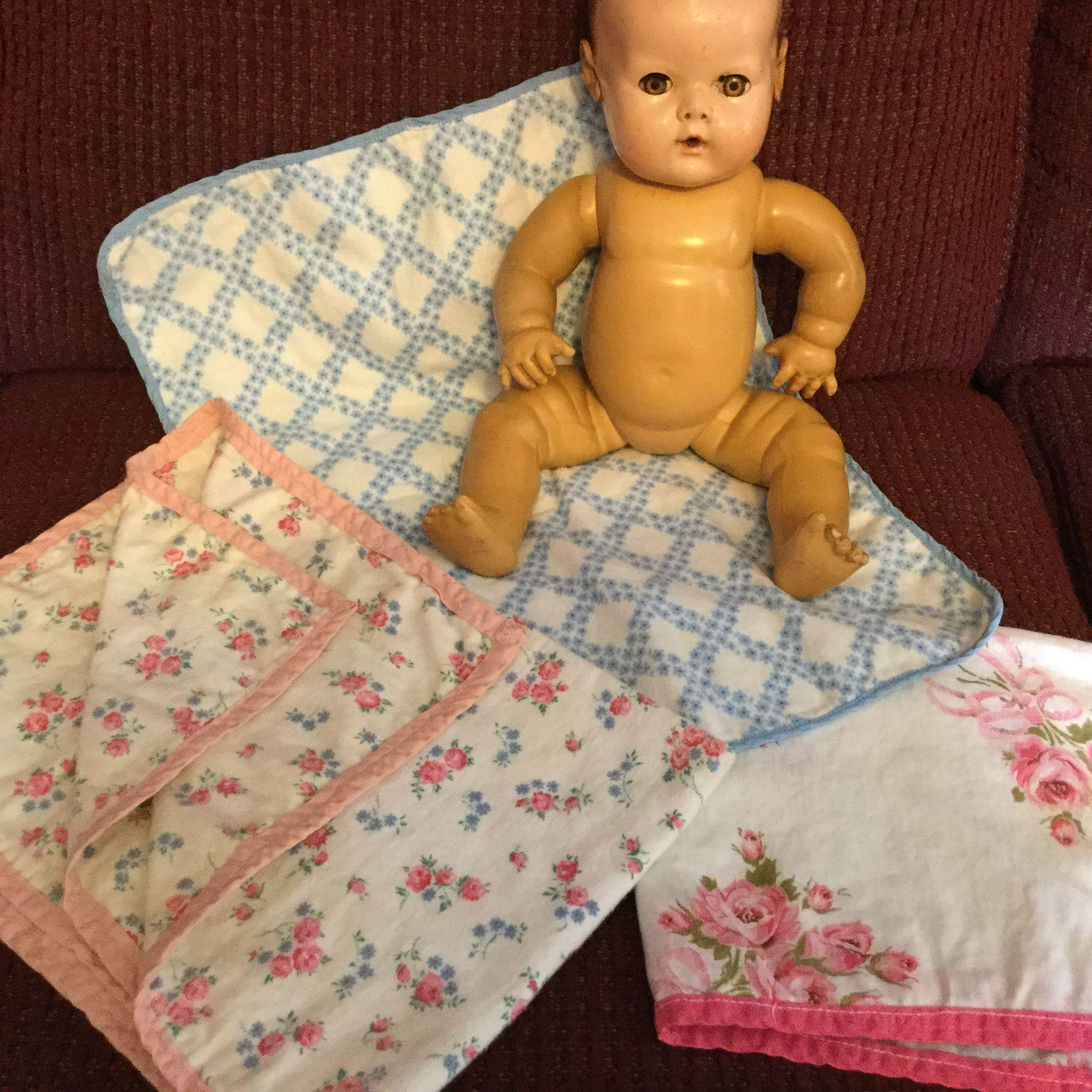 3 Vintage Baby Doll Layette Flannel Blankets