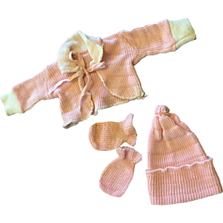 4 Piece Pink Knit Baby Doll Set-1950s