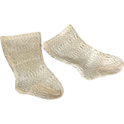 C.1900 Factory Knitted Lace Doll Socks