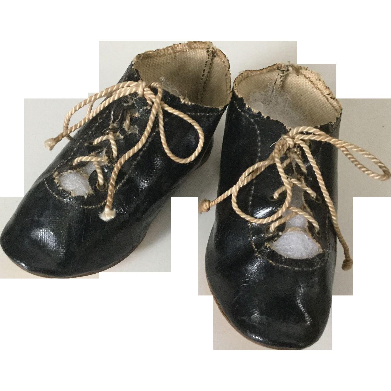 C.1900 Faux Patent Oilcloth Doll Tie Shoes Size 10