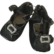Early 20c. Unused Small Oilcloth Tie Shoes for German Doll