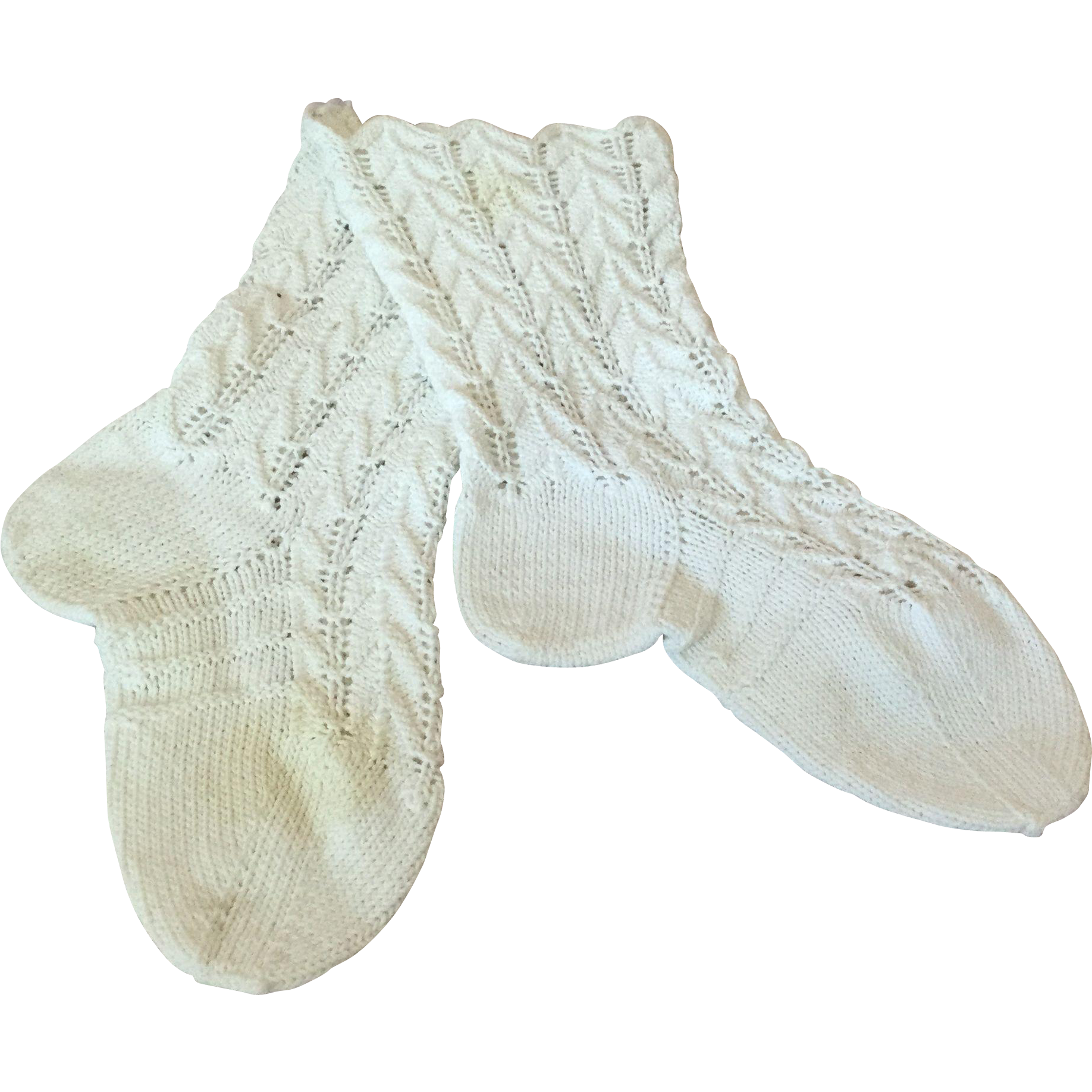 Late 19c. Cotton Hand knitted Lace Socks