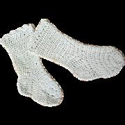 Early 20c. Hand Crocheted Doll Socks