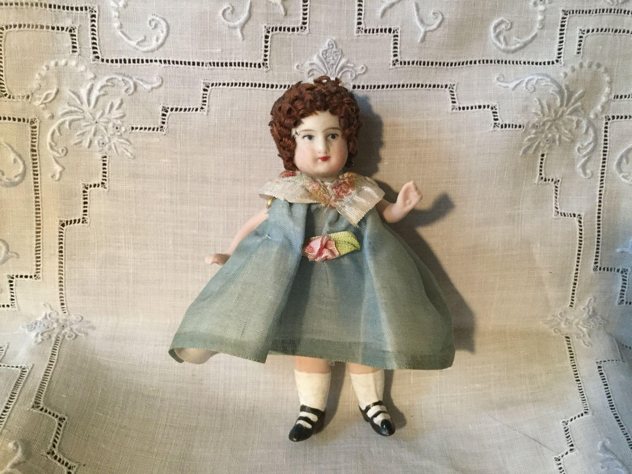 "4"" German All Bisque with Organdy Clothes"