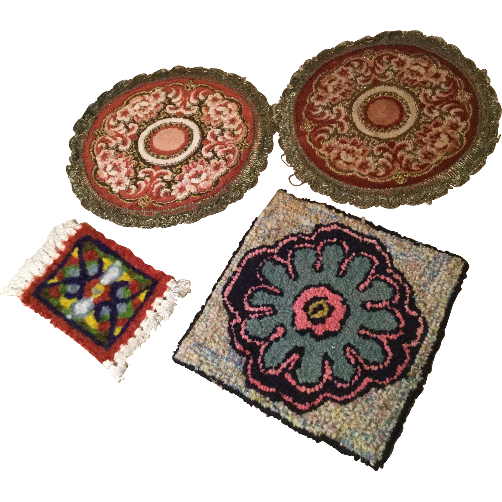4 Vintage Doll House rugs
