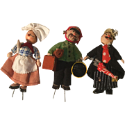 3 Wee Wooden Jointed Village Figures Made in Germany