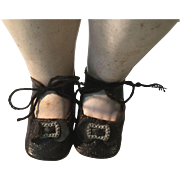 C.1900 Heeled Leather Doll Shoes