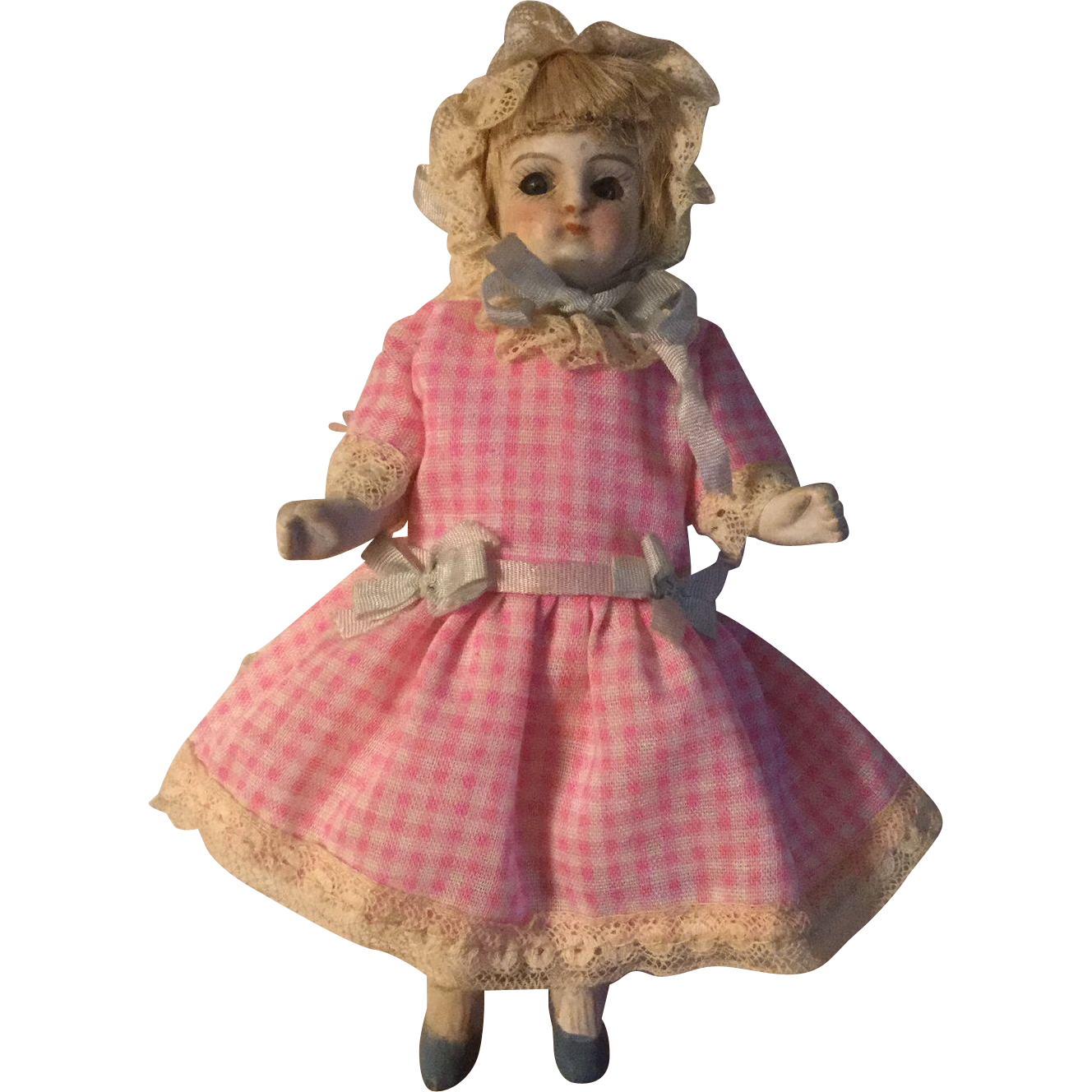 """5"""" German Glass Eyed All Bisque Doll"""