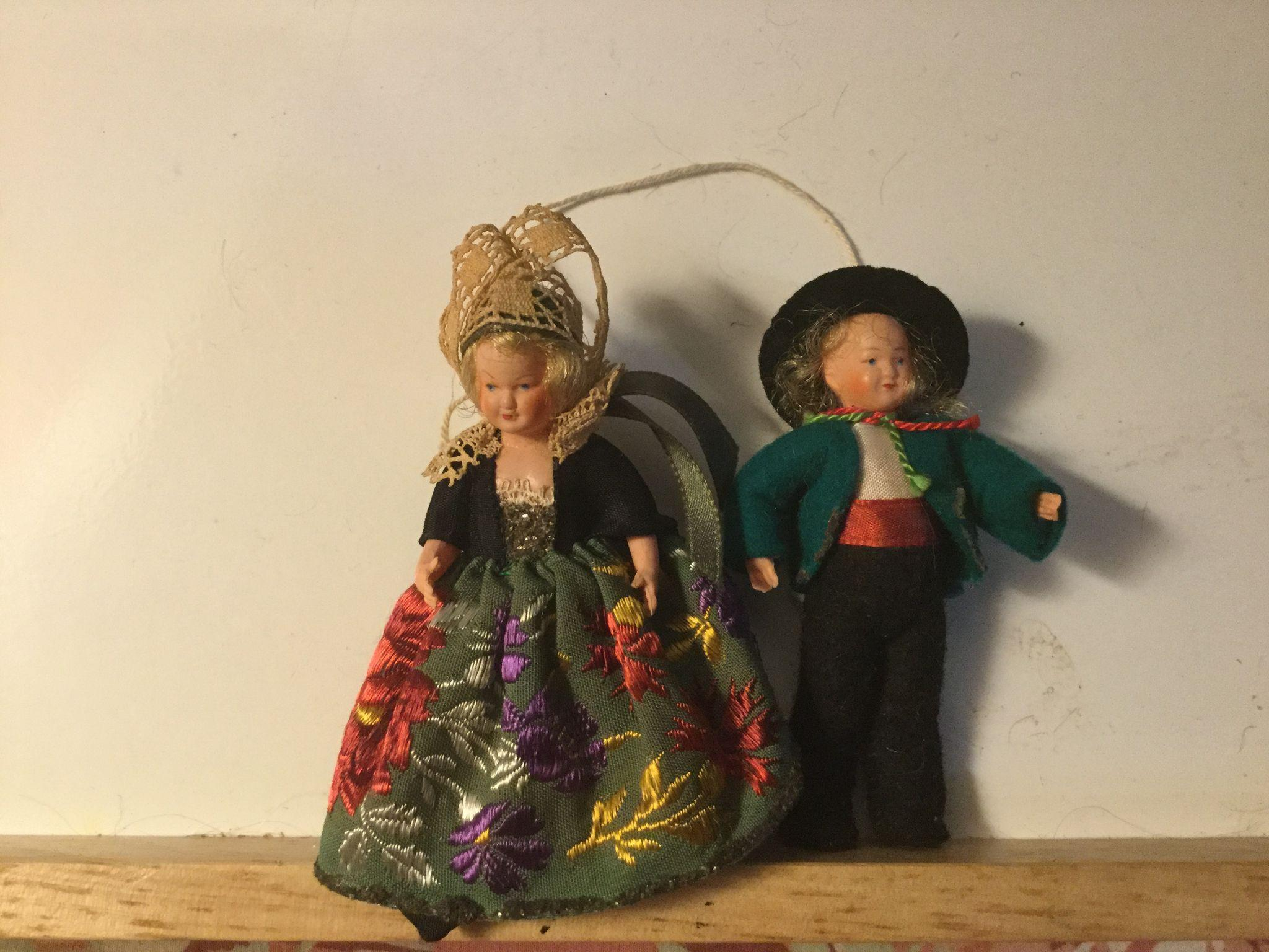 "Pair of 3"" French Celluloid Regional Figures"