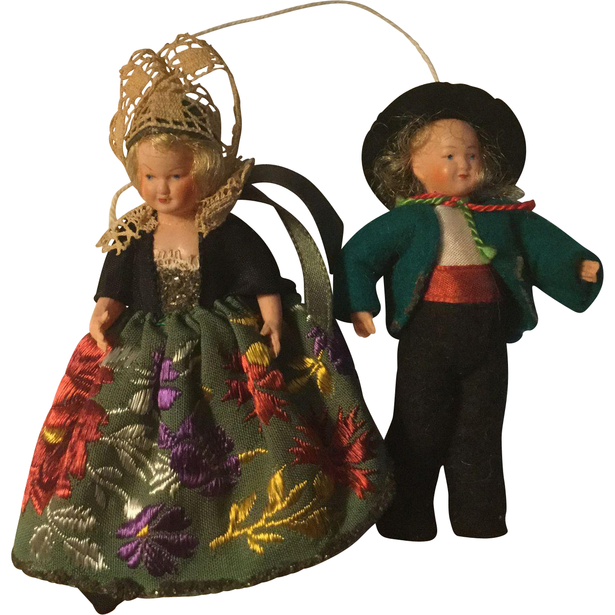 """Pair of 3"""" French Celluloid Regional Figures"""