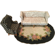 Vintage Doll House Sofa and Wingback Chair