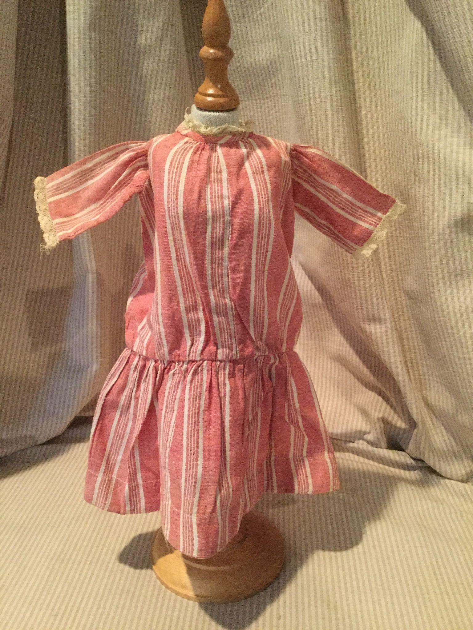 Early 20c. Red Striped Chambray School Girl Dress, Schoenhut Type