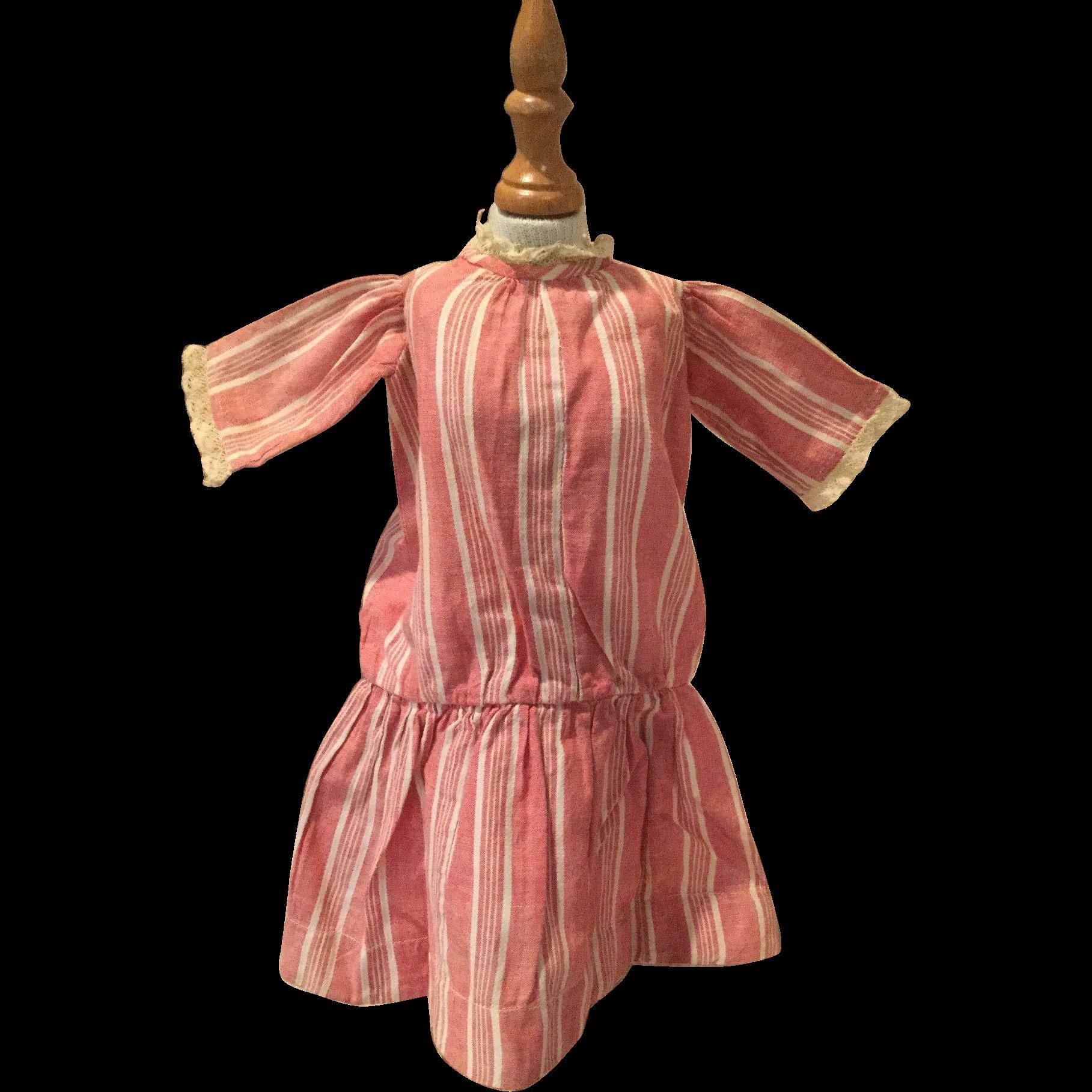 Early 20c. Red Striped Chambray School Girl Dress, Schoenhut Type
