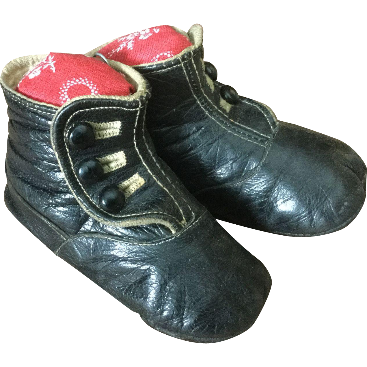 Early 20c. Three Button Leather Shoes