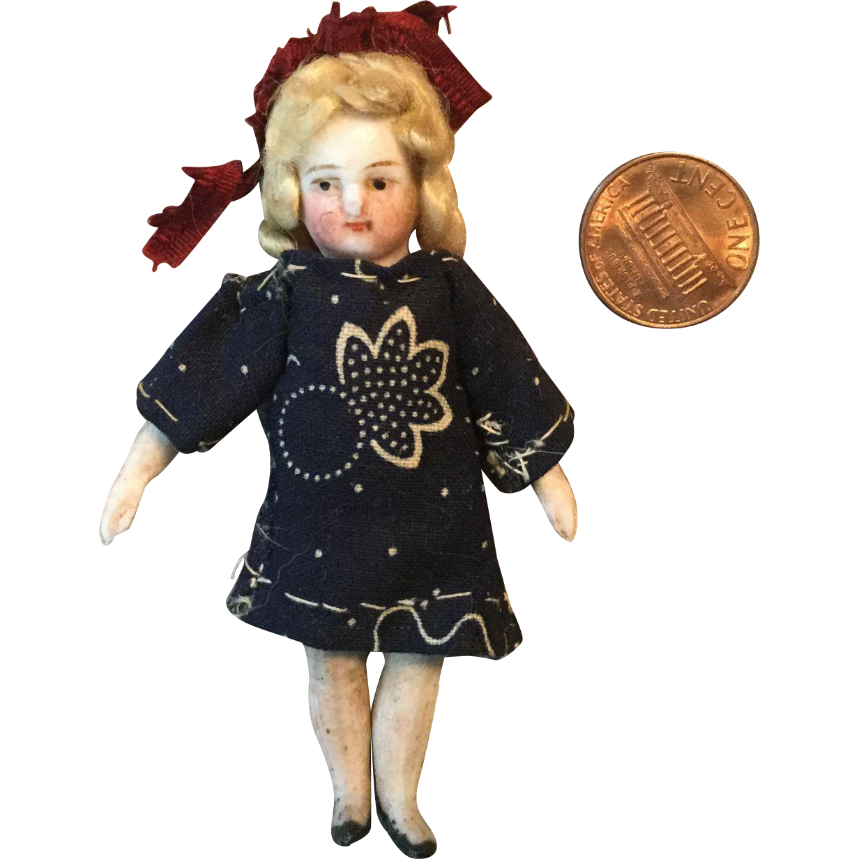 """Tiny 3"""" German Pin Jointed All Bisque Doll"""