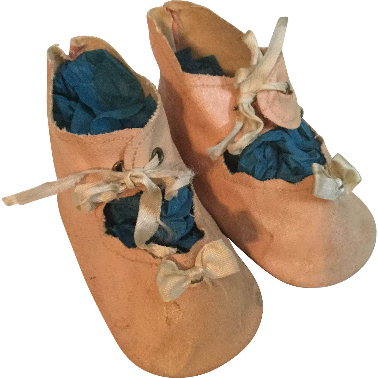 1940s Pink Oilcloth Tie Shoes for Mama Doll