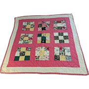 C.1950 Nine Patch Doll Quilt in Fine Condition