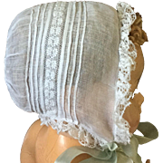 19c. Fine Batiste Bonnet with Ayershire Embroidery
