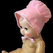 Vintage Pink Batiste Doll Bonnet