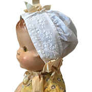 Early 20c. Batiste Baby Doll Bonnet
