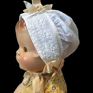 Early 20c. Batiste Baby Doll Bonnet