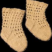Vintage knitted doll socks